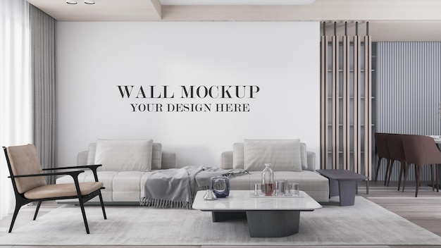 Bright modern living room wall mockup in 3d rendering