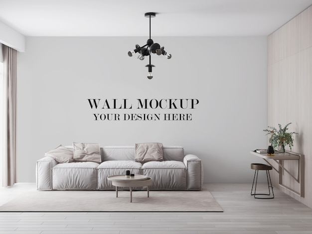 Bright modern living room wall mockup behind comfortable sofa