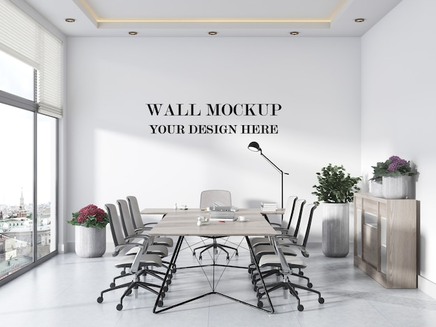 Bright modern panoramic meeting room wall mockup