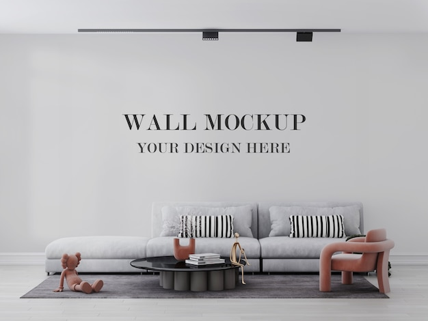 Bright and relaxing living room wall mockup