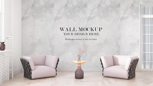 Макет стены в светлой комнате