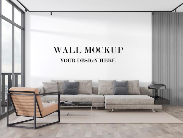 明るい居間の空白の壁の3dレンダリングモックアップ