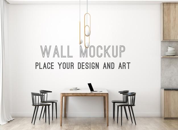 Яркий макет стены в скандинавской столовой с кухней