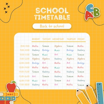 Bright yellow school timetable template