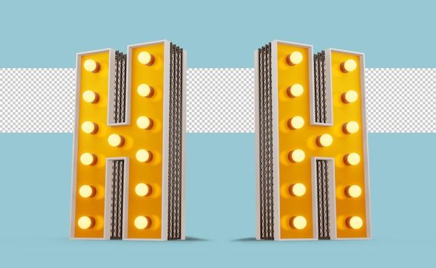 Алфавит лампочки в бродвейском стиле, 3d-рендеринг
