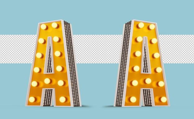 Бродвейский стиль лампочка алфавит 3d-рендеринг