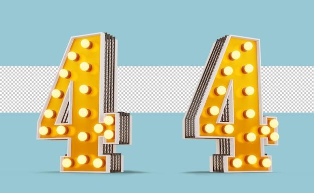 Номер лампочки в бродвейском стиле, 3d-рендеринг