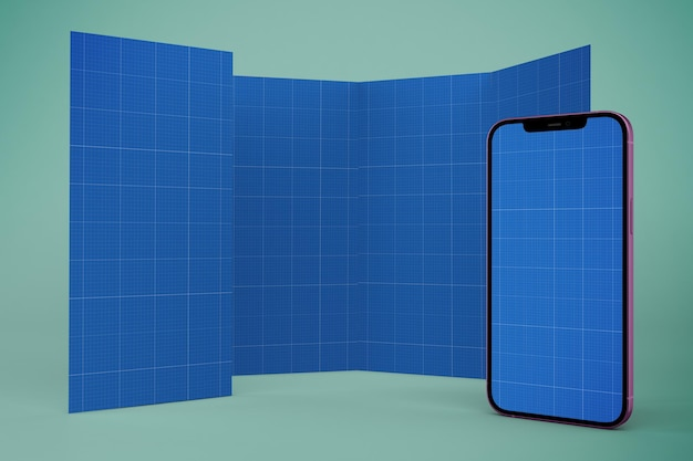 パンフレットとスマートフォンのモックアップ Premium Psd