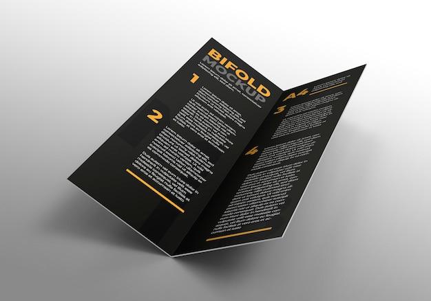 企業のプレゼンテーションを宣伝するためのパンフレットの2つ折りモックアップ