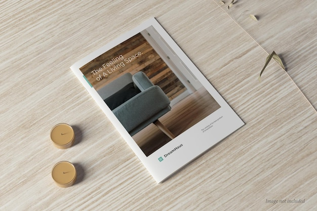 Brochure and catalog mockup cover perspctive view