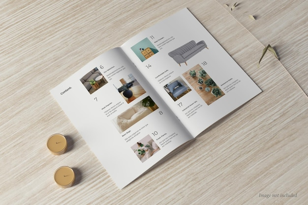 Brochure and catalog mockup perspctive view