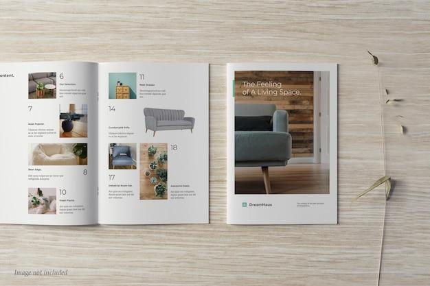 Brochure and catalog mockup top view