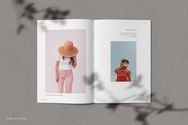 Brochure and catalog mockup with shadow overlay