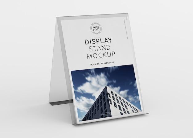 Brochure display stand on white mockup