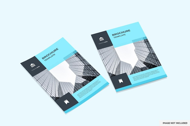 Brochure or flyer mockup with perspective view