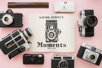 写真コンセプトのパンフレットモックアップ
