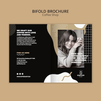 Brochure template concept for coffee shop