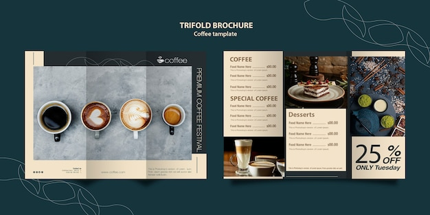 Brochure template concept with coffee