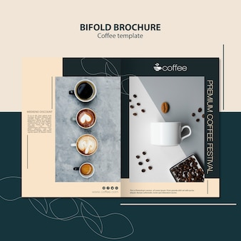 Brochure template theme with coffee