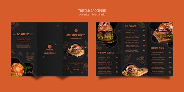 Brochure template with american food concept
