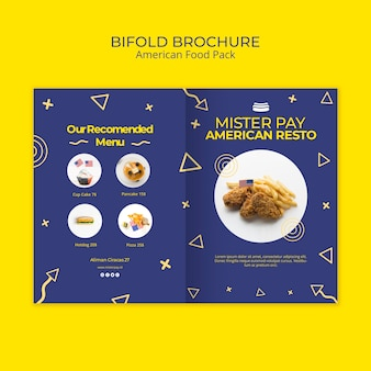 Brochure template with american food
