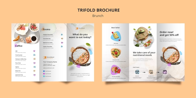 Brochure template with brunch theme