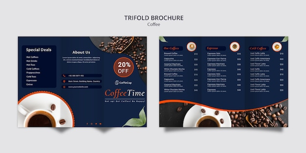 Brochure template with coffee concept