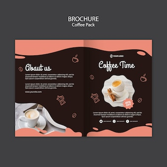Brochure template with coffee