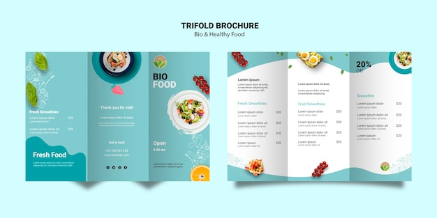 Brochure template with healthy food