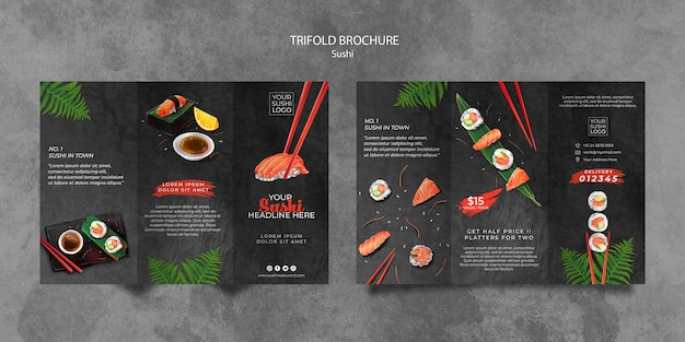 Brochure template with sushi day theme