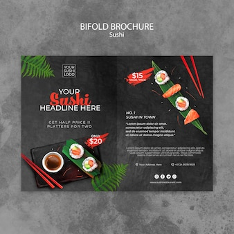 Brochure template with sushi day
