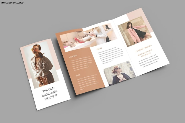 Brochure trifold mockup design isolated