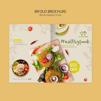 Brochure with healthy and bio food template