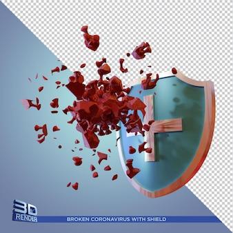 Сломанный коронавирус с 3d визуализацией щита