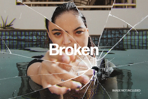Broken glass photo effect template