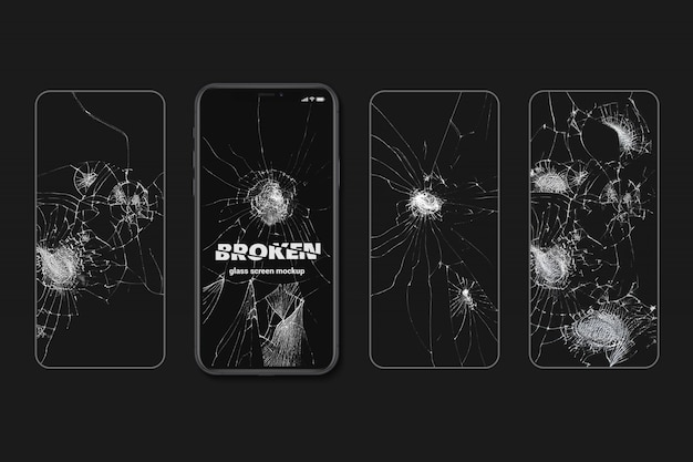 Broken glasses screen texture mockup