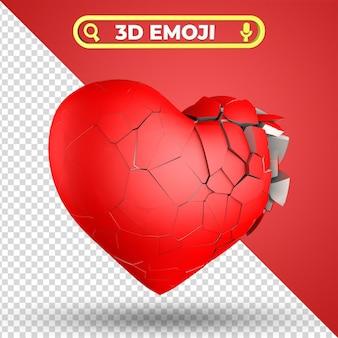 Разбитое сердце 3d визуализации emoji изолированные