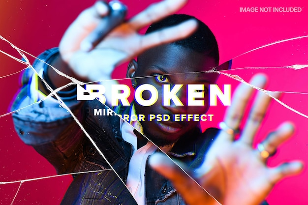 Broken mirror photo effect template