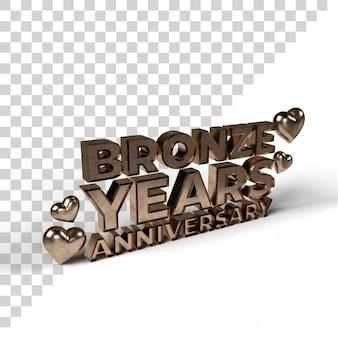 Bronze years anniversary for valentine and romantic season 3d render