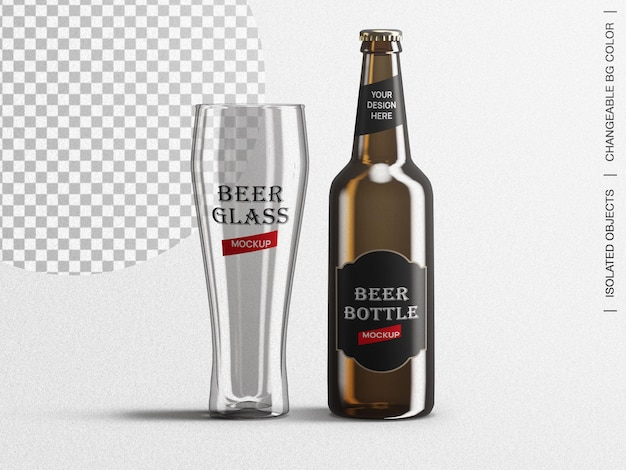Brown beer bottle label packaging and glass mockup scene creator isolated