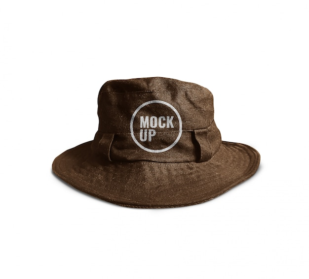 Brown bucket hat mockup realistic