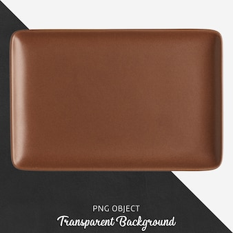Brown ceramic rectangle plate on transparent background