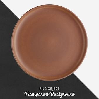 Brown ceramic round plate on transparent background