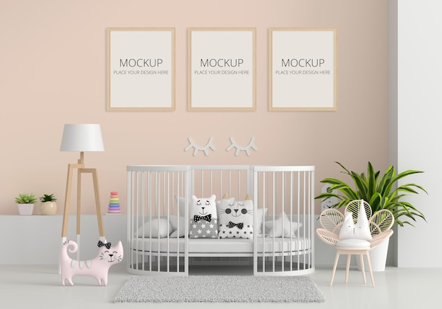 Brown child room interior with frame mockup