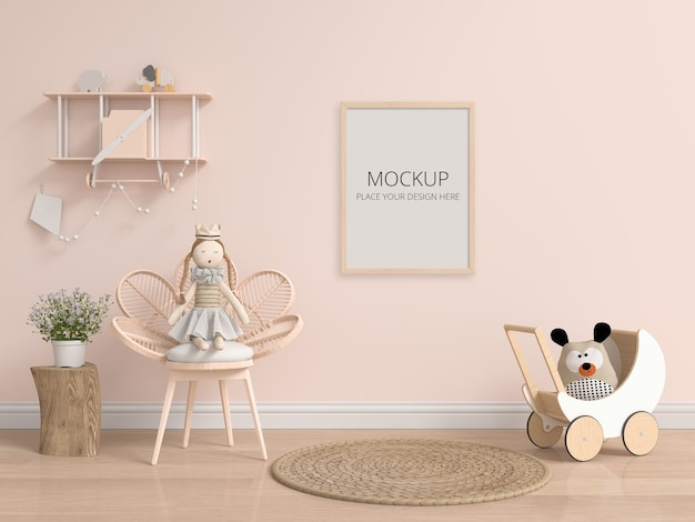 Brown child room with frame mockup