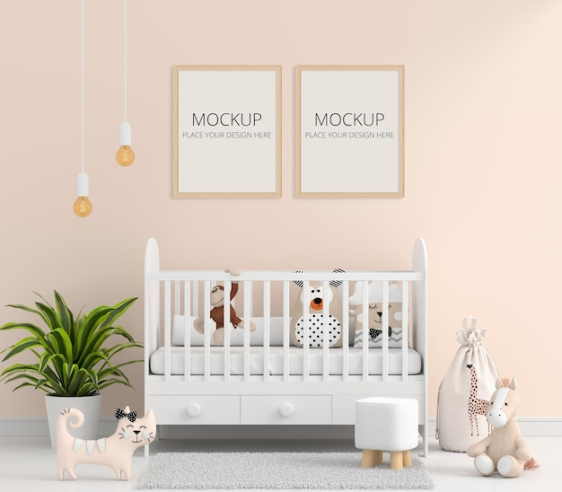 Brown child room with picture frame mockup