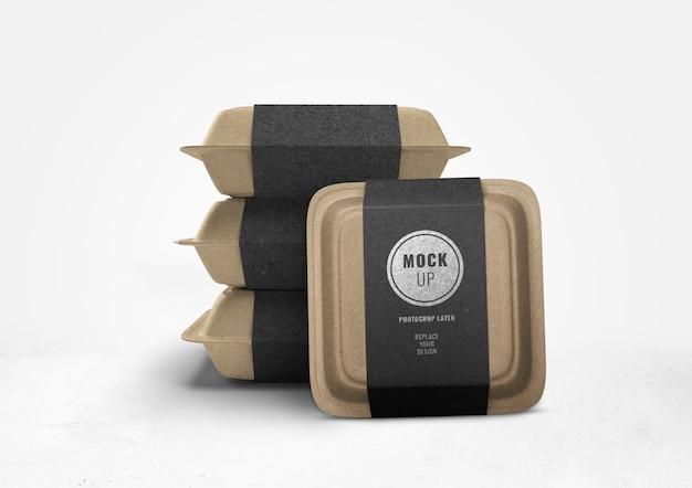 Brown food box advertising mockup 3d rendering