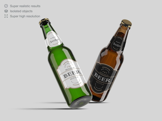 Brown and green glass beer bottle label  mockup template