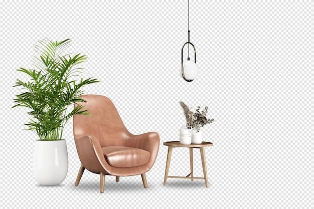 3d 렌더링의 갈색 가죽 안락 의자 및 식물 모형