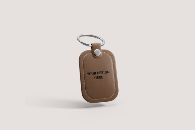 Brown leather keyring mockup